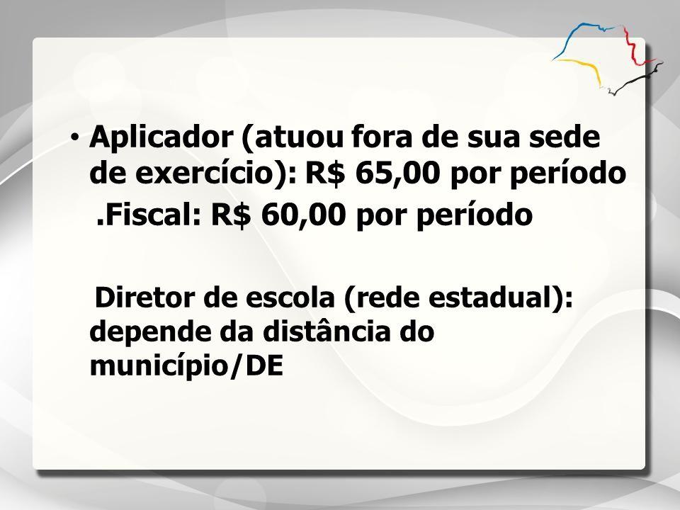 Aplicador (atuou fora de sua sede de exercício): R$ 65,00 por período.Fiscal: R$ 60,00 por período Diretor de escola (rede estadual): depende da distâ