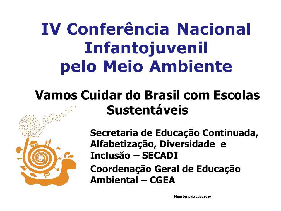 Secretaria de Educação Continuada, Alfabetização, Diversidade e Inclusão – SECADI Coordenação Geral de Educação Ambiental – CGEA Ministério da Educaçã