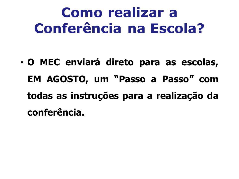 Como realizar a Conferência na Escola? O MEC enviará direto para as escolas, EM AGOSTO, um Passo a Passo com todas as instruções para a realização da