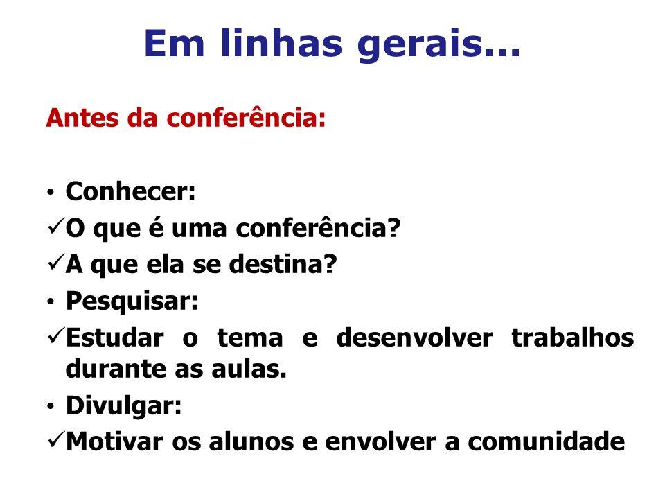 Em linhas gerais... Antes da conferência: Conhecer: O que é uma conferência? A que ela se destina? Pesquisar: Estudar o tema e desenvolver trabalhos d