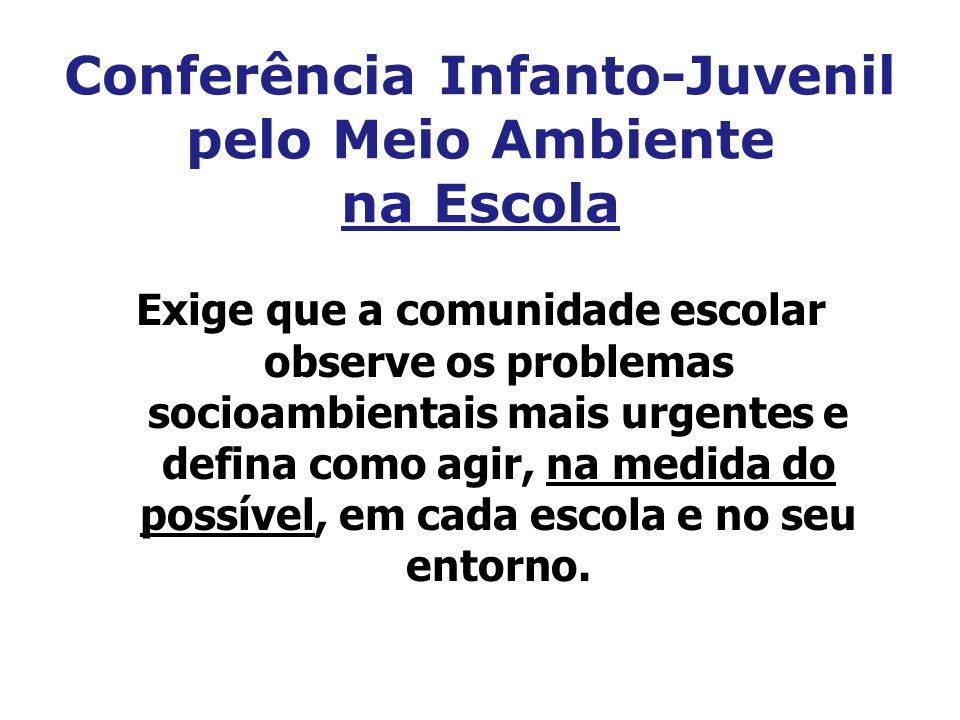 Conferência Infanto-Juvenil pelo Meio Ambiente na Escola Exige que a comunidade escolar observe os problemas socioambientais mais urgentes e defina co