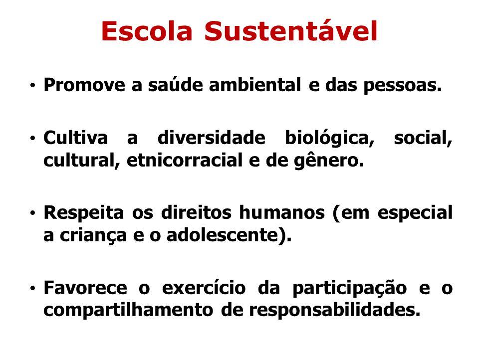 Escola Sustentável Promove a saúde ambiental e das pessoas. Cultiva a diversidade biológica, social, cultural, etnicorracial e de gênero. Respeita os
