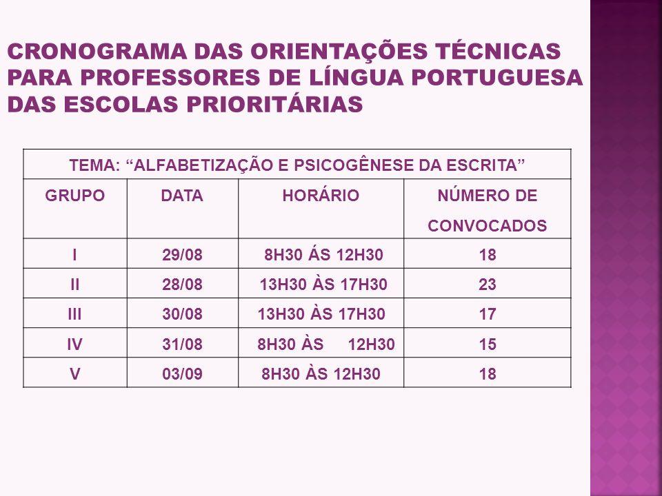 b) realização da formação de professores de Língua Portuguesa e Matemática, pelos PCNP de cada uma das DE envolvidas, no período de 10/09 a 7/10, c) r