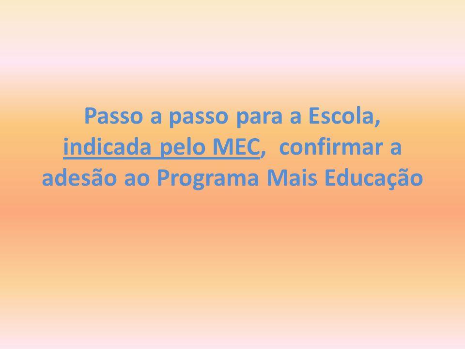Passo a passo para a Escola, indicada pelo MEC, confirmar a adesão ao Programa Mais Educação