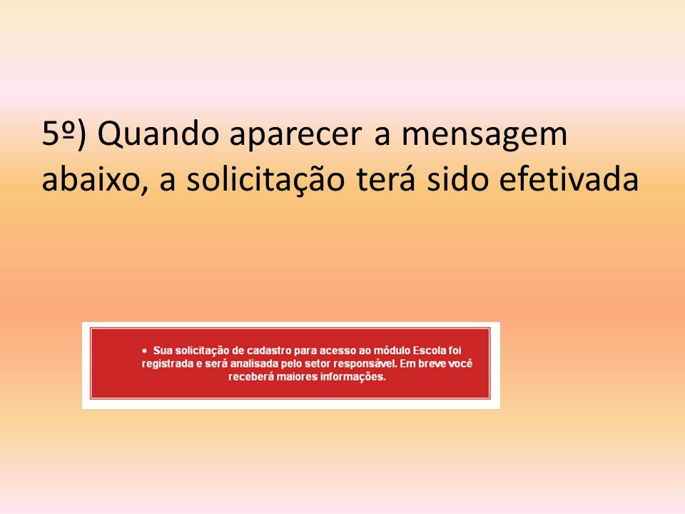 6º) Para agilizar o envio da senha é preciso enviar um e-mail para katia.miguel@edunet.sp.gov.br mencionando o CPF que foi cadastrado, o nome da escola e o município.