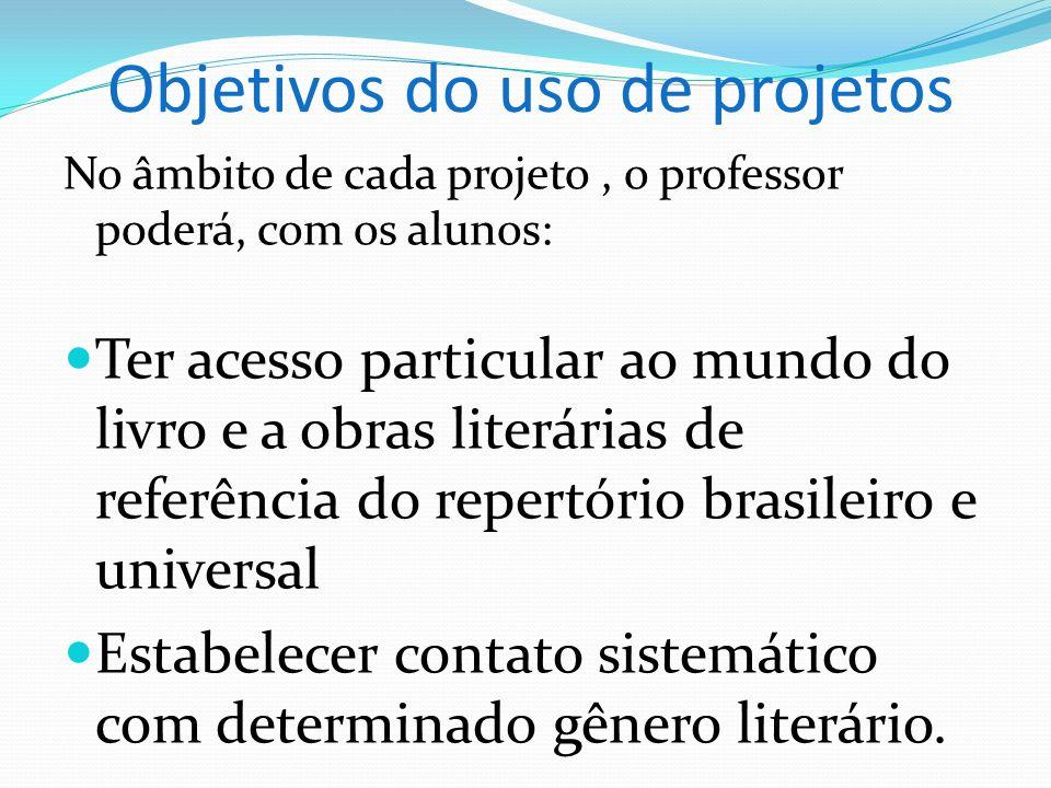 Objetivos do uso de projetos No âmbito de cada projeto, o professor poderá, com os alunos: Ter acesso particular ao mundo do livro e a obras literária
