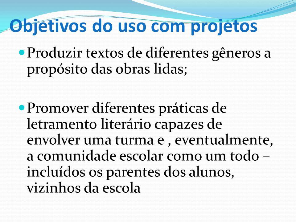 Objetivos do uso com projetos Produzir textos de diferentes gêneros a propósito das obras lidas; Promover diferentes práticas de letramento literário