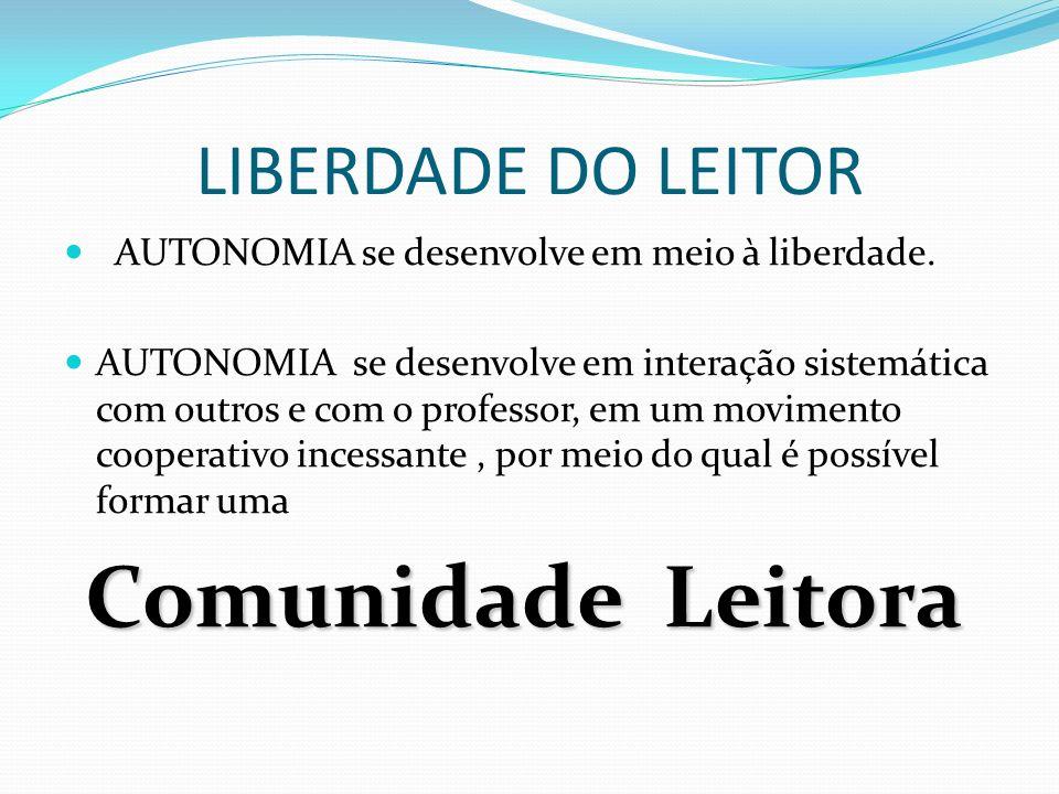 LIBERDADE DO LEITOR AUTONOMIA se desenvolve em meio à liberdade. AUTONOMIA se desenvolve em interação sistemática com outros e com o professor, em um