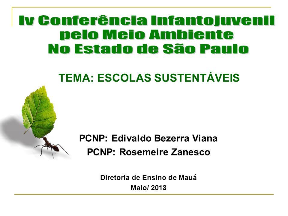 TEMA: ESCOLAS SUSTENTÁVEIS PCNP: Edivaldo Bezerra Viana PCNP: Rosemeire Zanesco Diretoria de Ensino de Mauá Maio/ 2013
