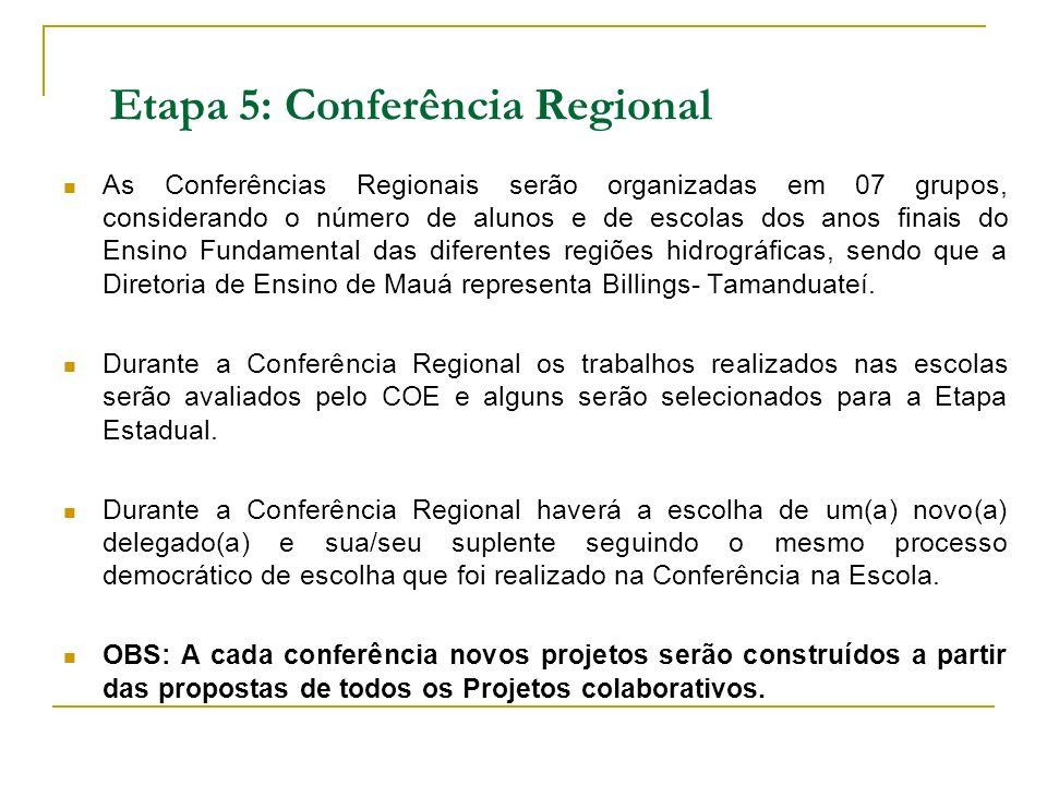 Etapa 5: Conferência Regional As Conferências Regionais serão organizadas em 07 grupos, considerando o número de alunos e de escolas dos anos finais d