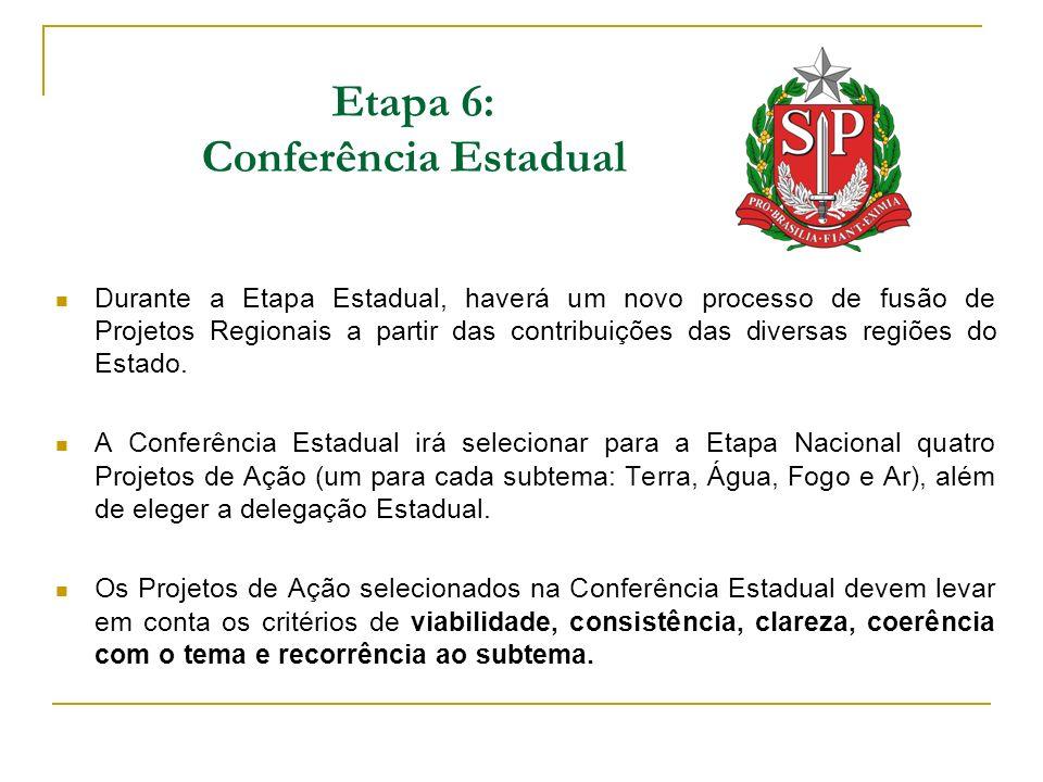 Etapa 6: Conferência Estadual Durante a Etapa Estadual, haverá um novo processo de fusão de Projetos Regionais a partir das contribuições das diversas