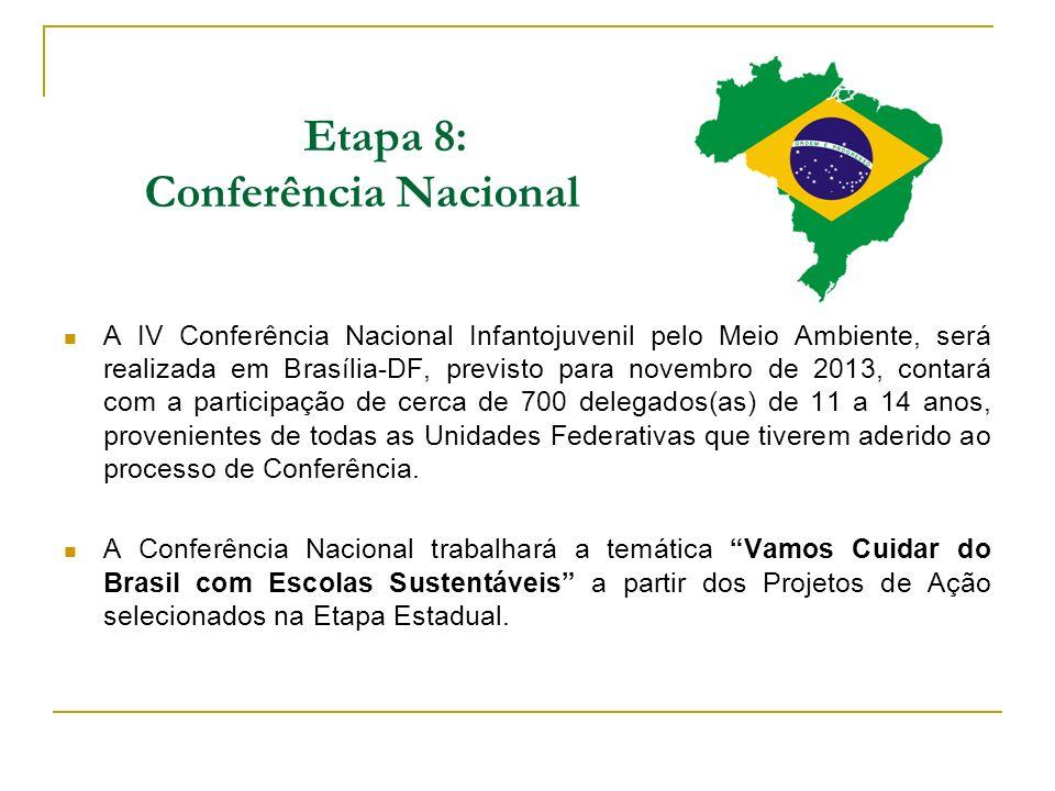 Etapa 8: Conferência Nacional A IV Conferência Nacional Infantojuvenil pelo Meio Ambiente, será realizada em Brasília-DF, previsto para novembro de 20