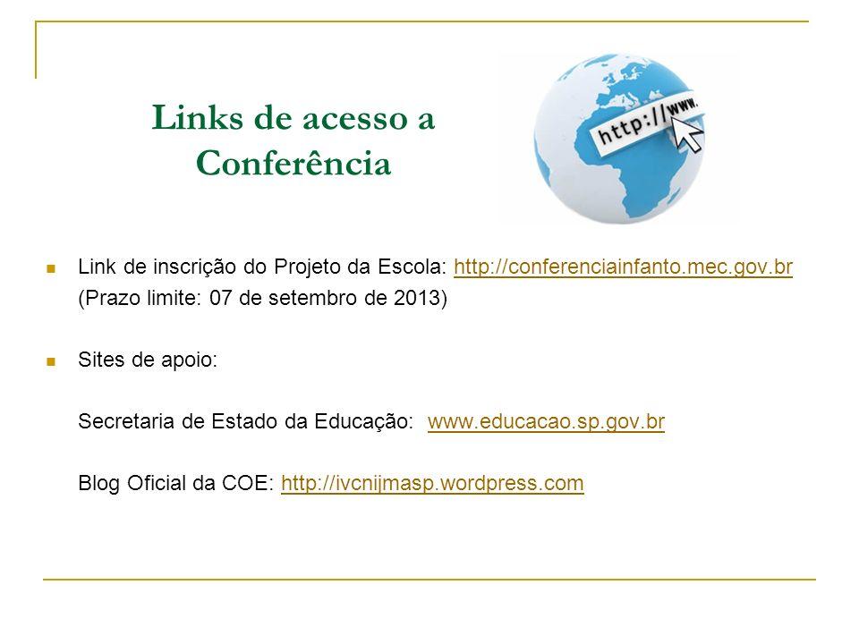 Links de acesso a Conferência Link de inscrição do Projeto da Escola: http://conferenciainfanto.mec.gov.brhttp://conferenciainfanto.mec.gov.br (Prazo