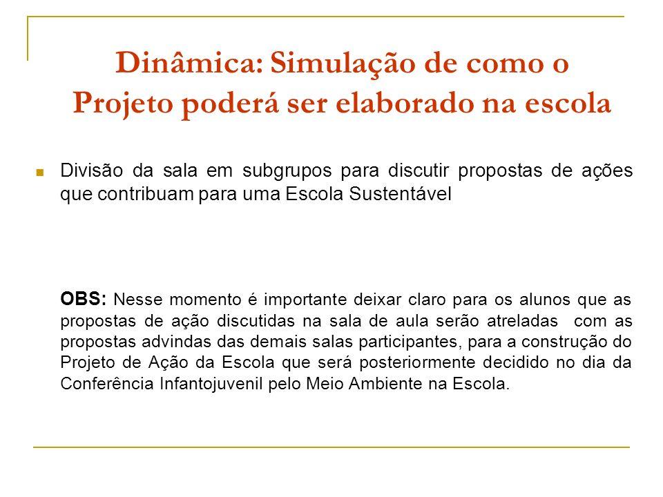 Dinâmica: Simulação de como o Projeto poderá ser elaborado na escola Divisão da sala em subgrupos para discutir propostas de ações que contribuam para