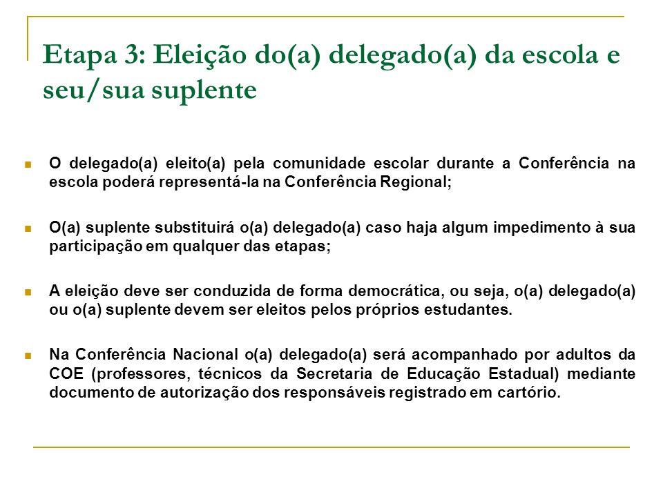Etapa 3: Eleição do(a) delegado(a) da escola e seu/sua suplente O delegado(a) eleito(a) pela comunidade escolar durante a Conferência na escola poderá