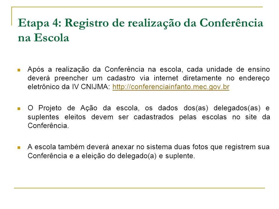 Etapa 4: Registro de realização da Conferência na Escola Após a realização da Conferência na escola, cada unidade de ensino deverá preencher um cadast