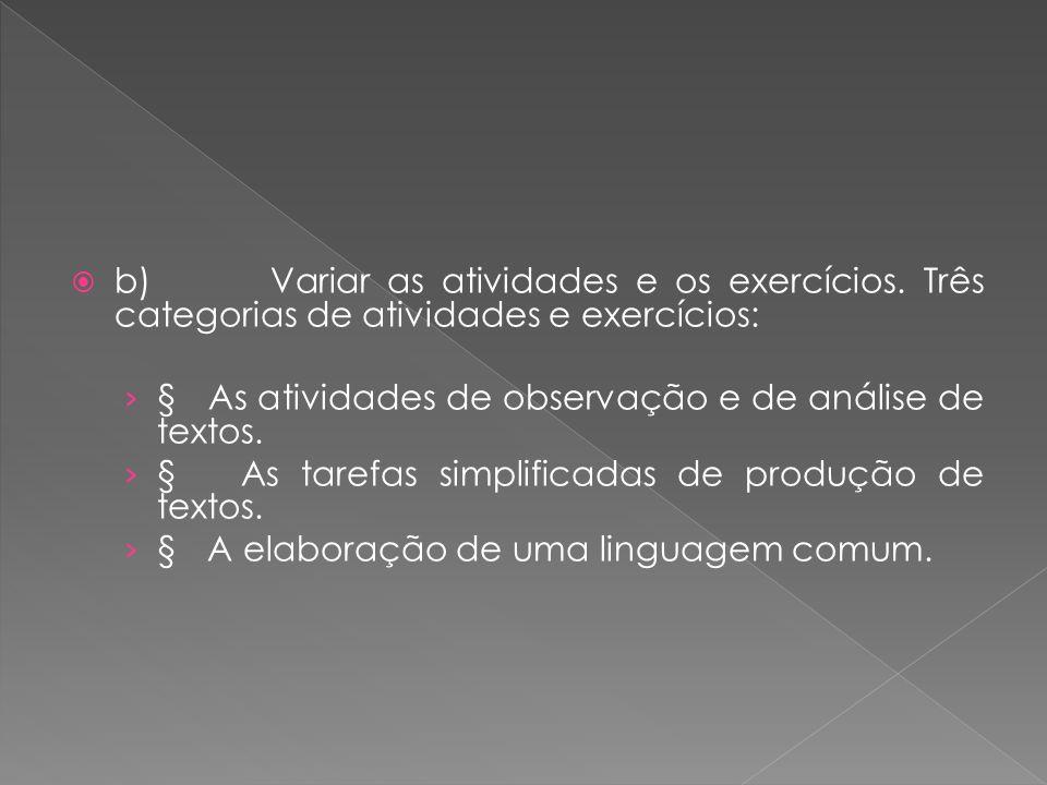 b) Variar as atividades e os exercícios. Três categorias de atividades e exercícios: § As atividades de observação e de análise de textos. § As tarefa