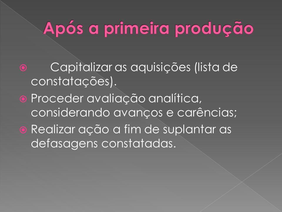 Capitalizar as aquisições (lista de constatações). Proceder avaliação analítica, considerando avanços e carências; Realizar ação a fim de suplantar as