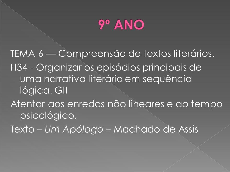 TEMA 6 –– Compreensão de textos literários. H34 - Organizar os episódios principais de uma narrativa literária em sequência lógica. GII Atentar aos en