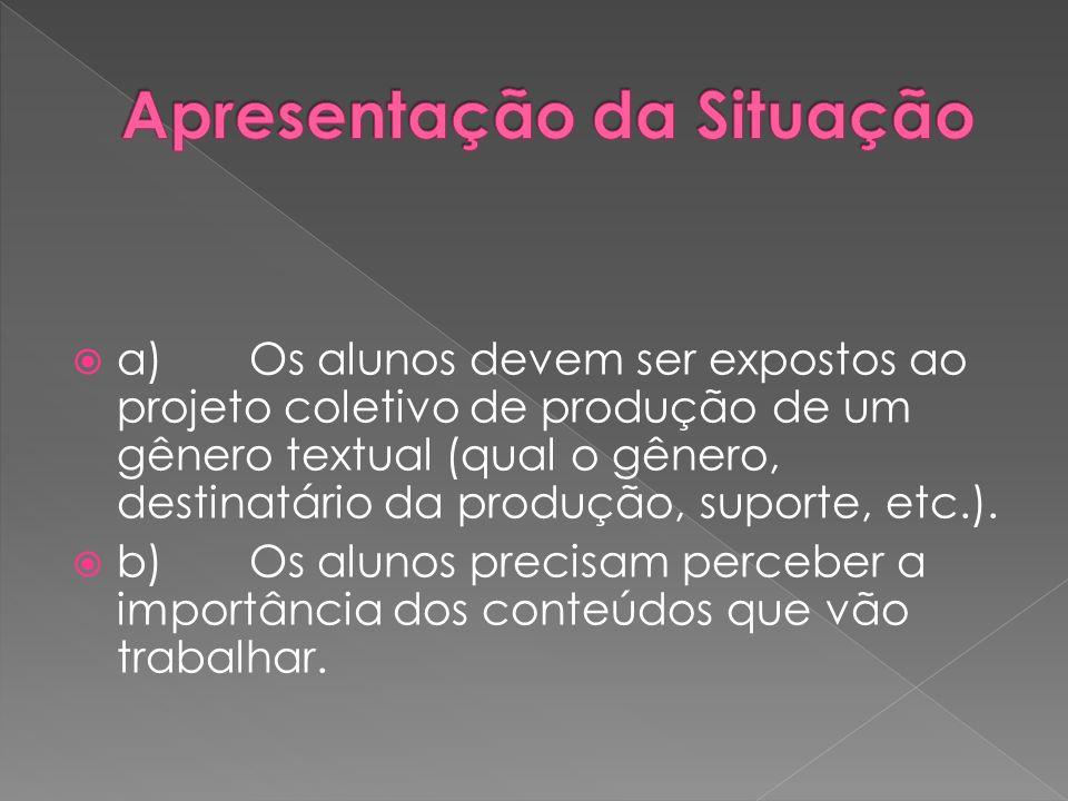 a) Os alunos devem ser expostos ao projeto coletivo de produção de um gênero textual (qual o gênero, destinatário da produção, suporte, etc.). b) Os a