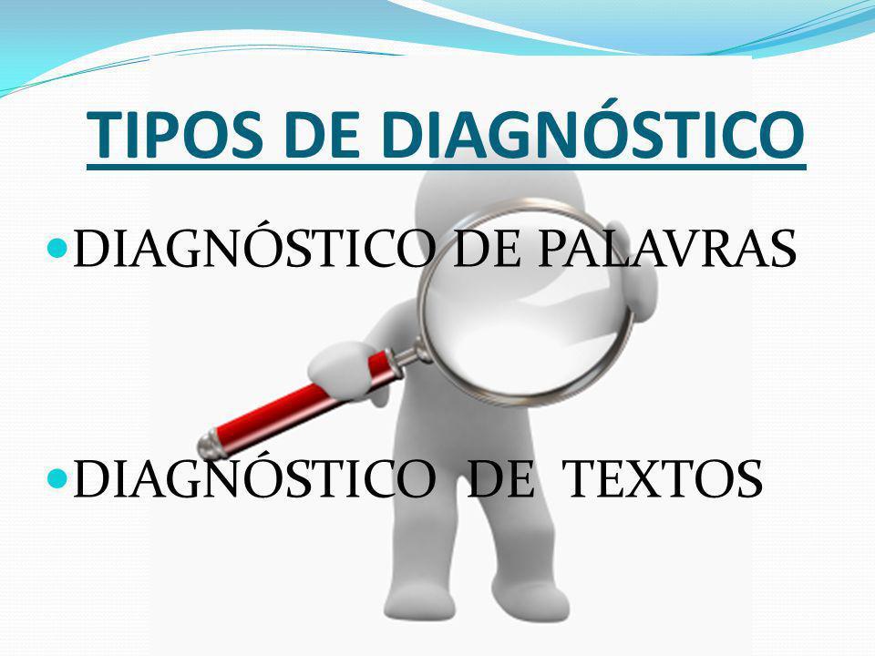 TIPOS DE DIAGNÓSTICO DIAGNÓSTICO DE PALAVRAS DIAGNÓSTICO DE TEXTOS