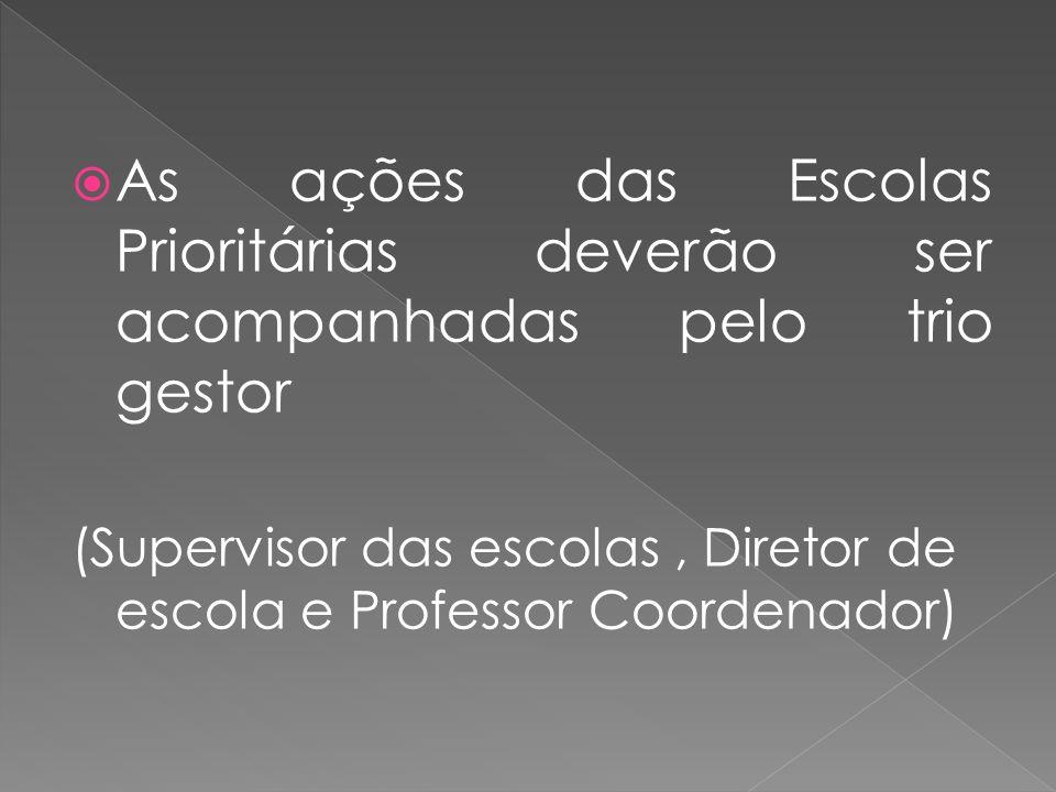 As ações das Escolas Prioritárias deverão ser acompanhadas pelo trio gestor (Supervisor das escolas, Diretor de escola e Professor Coordenador)