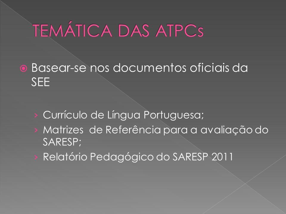 Basear-se nos documentos oficiais da SEE Currículo de Língua Portuguesa; Matrizes de Referência para a avaliação do SARESP; Relatório Pedagógico do SA