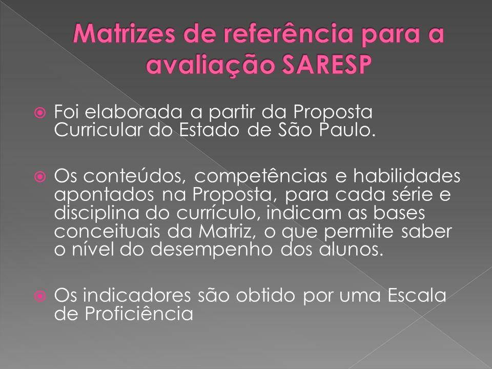 Foi elaborada a partir da Proposta Curricular do Estado de São Paulo. Os conteúdos, competências e habilidades apontados na Proposta, para cada série