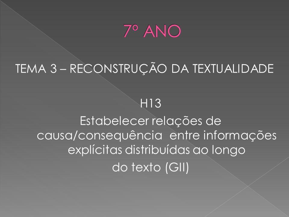 TEMA 3 – RECONSTRUÇÃO DA TEXTUALIDADE H13 Estabelecer relações de causa/consequência entre informações explícitas distribuídas ao longo do texto (GII)