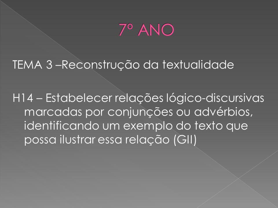 TEMA 3 –Reconstrução da textualidade H14 – Estabelecer relações lógico-discursivas marcadas por conjunções ou advérbios, identificando um exemplo do t