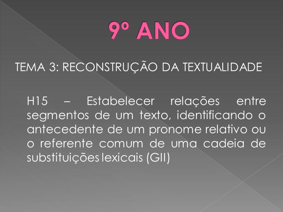 TEMA 3: RECONSTRUÇÃO DA TEXTUALIDADE H15 – Estabelecer relações entre segmentos de um texto, identificando o antecedente de um pronome relativo ou o r