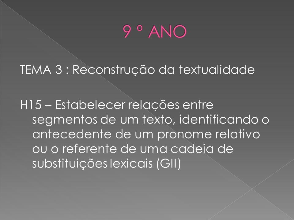 TEMA 3 : Reconstrução da textualidade H15 – Estabelecer relações entre segmentos de um texto, identificando o antecedente de um pronome relativo ou o