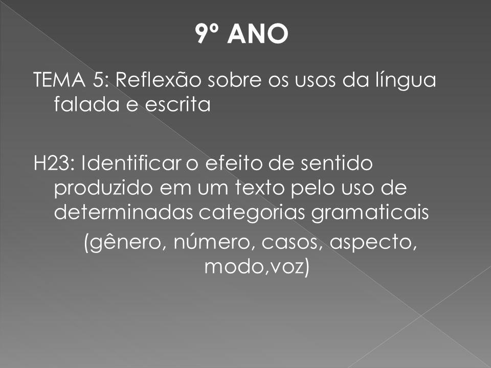 TEMA 5: Reflexão sobre os usos da língua falada e escrita H23: Identificar o efeito de sentido produzido em um texto pelo uso de determinadas categori