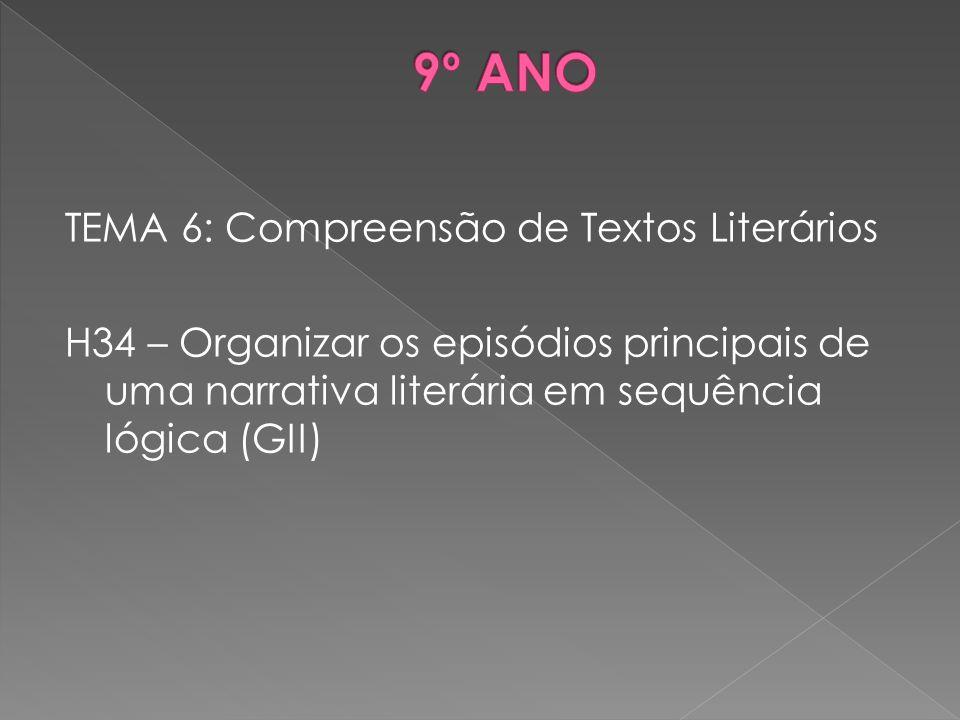 TEMA 6: Compreensão de Textos Literários H34 – Organizar os episódios principais de uma narrativa literária em sequência lógica (GII)