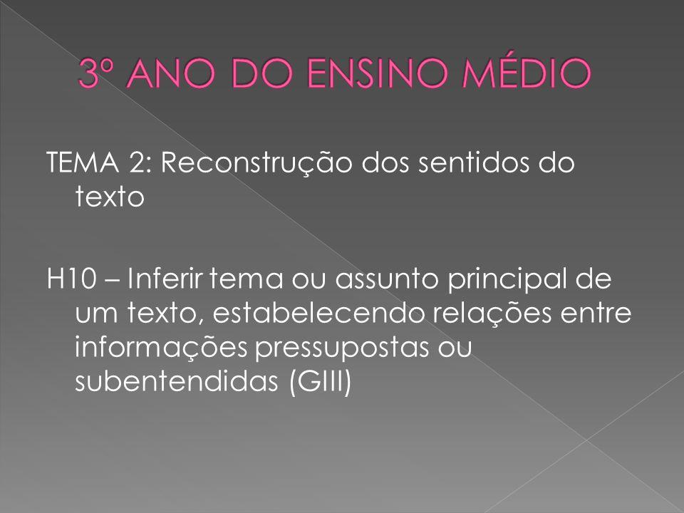 TEMA 2: Reconstrução dos sentidos do texto H10 – Inferir tema ou assunto principal de um texto, estabelecendo relações entre informações pressupostas