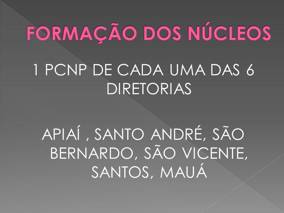 1 PCNP DE CADA UMA DAS 6 DIRETORIAS APIAÍ, SANTO ANDRÉ, SÃO BERNARDO, SÃO VICENTE, SANTOS, MAUÁ