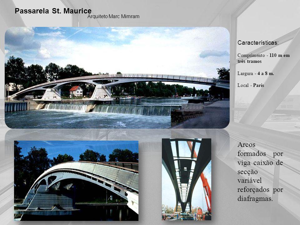 Passarela St. Maurice Arquiteto Marc Mimram Características: Comprimento - 110 m em três tramos Largura - 4 a 8 m. Local - Paris Arcos formados por vi