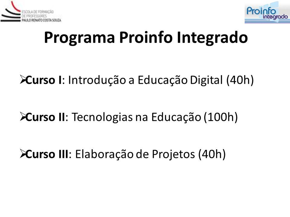 Programa Proinfo Integrado Curso I: Introdução a Educação Digital (40h) Curso II: Tecnologias na Educação (100h) Curso III: Elaboração de Projetos (40