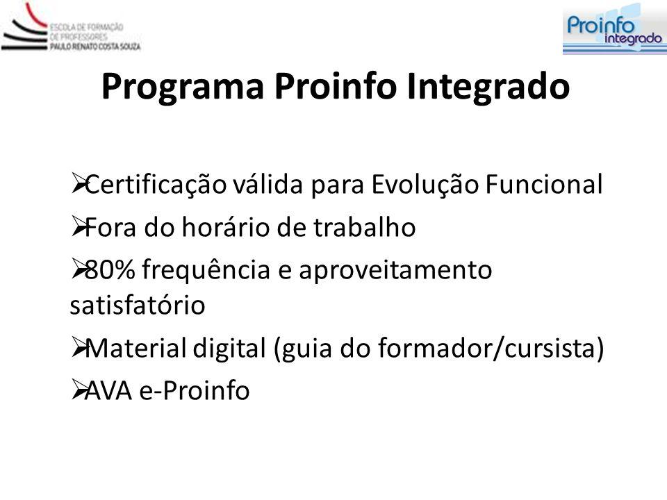Programa Proinfo Integrado Certificação válida para Evolução Funcional Fora do horário de trabalho 80% frequência e aproveitamento satisfatório Materi