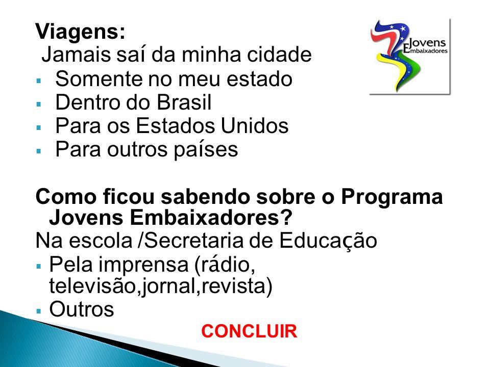 Viagens: Jamais sa í da minha cidade Somente no meu estado Dentro do Brasil Para os Estados Unidos Para outros pa í ses Como ficou sabendo sobre o Programa Jovens Embaixadores.