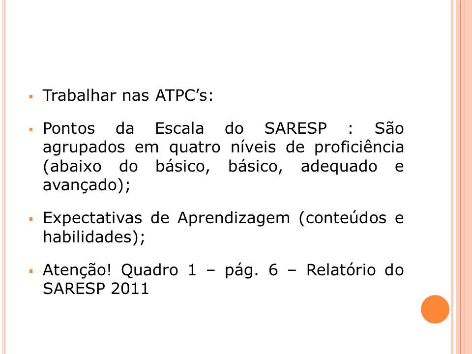Trabalhar nas ATPCs: Pontos da Escala do SARESP : São agrupados em quatro níveis de proficiência (abaixo do básico, básico, adequado e avançado); Expectativas de Aprendizagem (conteúdos e habilidades); Atenção.