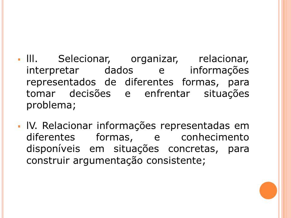 lll. Selecionar, organizar, relacionar, interpretar dados e informações representados de diferentes formas, para tomar decisões e enfrentar situações