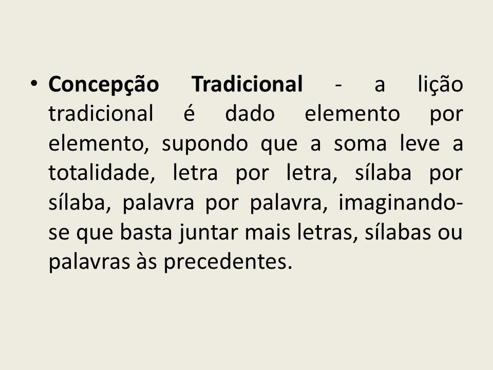 Concepção Tradicional - a lição tradicional é dado elemento por elemento, supondo que a soma leve a totalidade, letra por letra, sílaba por sílaba, pa