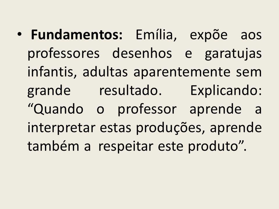 Fundamentos: Emília, expõe aos professores desenhos e garatujas infantis, adultas aparentemente sem grande resultado. Explicando: Quando o professor a