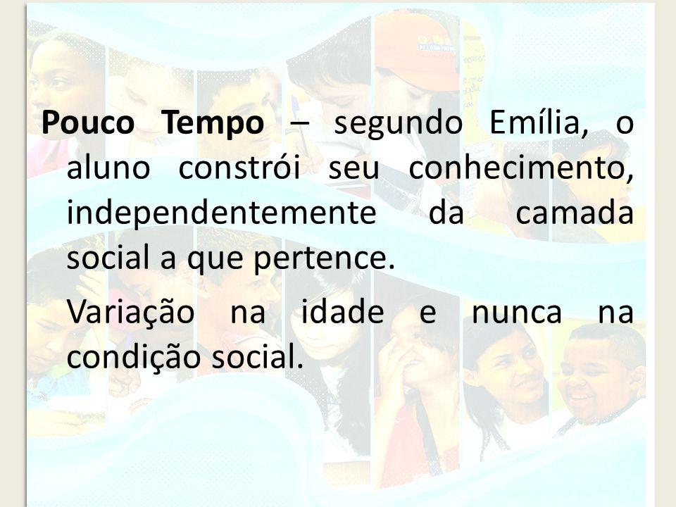 Pouco Tempo – segundo Emília, o aluno constrói seu conhecimento, independentemente da camada social a que pertence. Variação na idade e nunca na condi