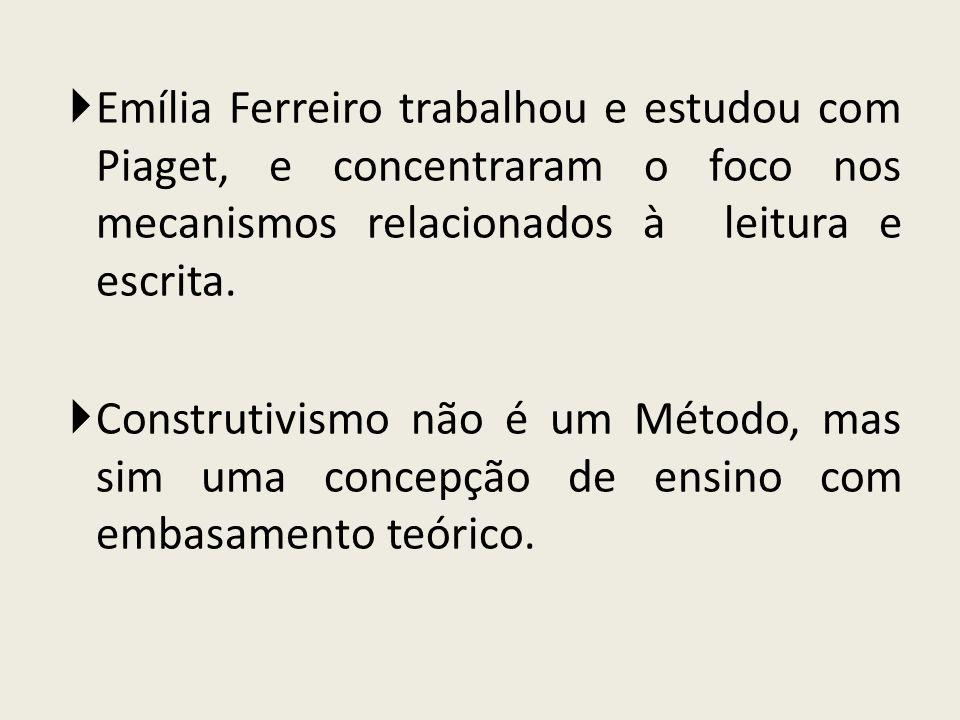 Emília Ferreiro trabalhou e estudou com Piaget, e concentraram o foco nos mecanismos relacionados à leitura e escrita. Construtivismo não é um Método,