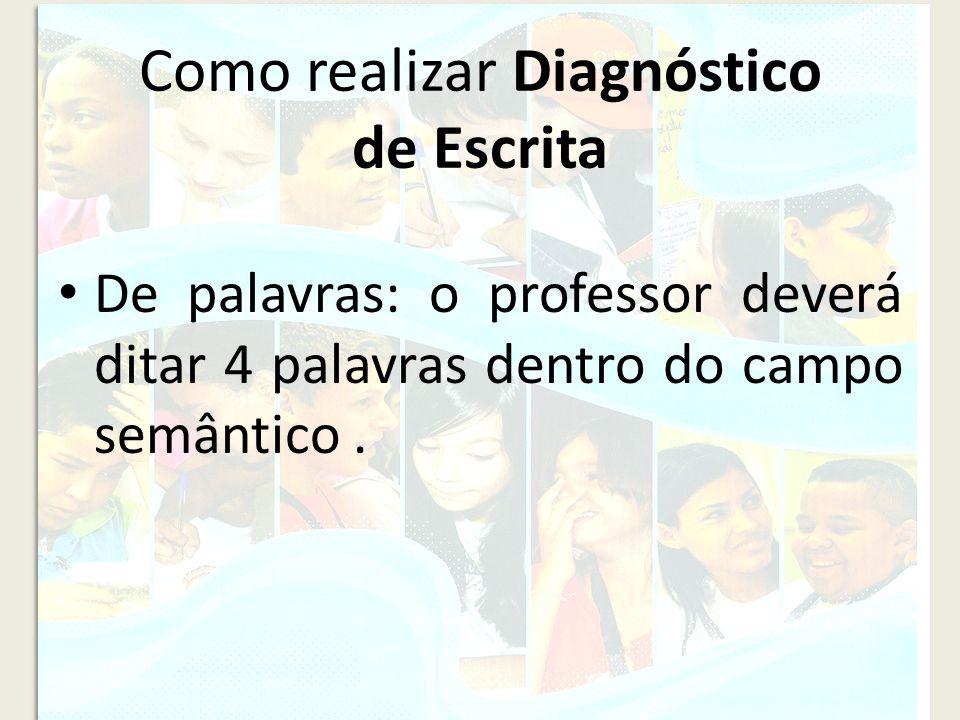 Como realizar Diagnóstico de Escrita De palavras: o professor deverá ditar 4 palavras dentro do campo semântico.
