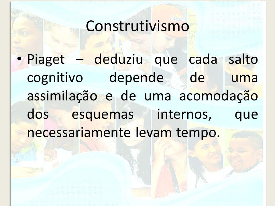 Construtivismo Piaget – deduziu que cada salto cognitivo depende de uma assimilação e de uma acomodação dos esquemas internos, que necessariamente lev