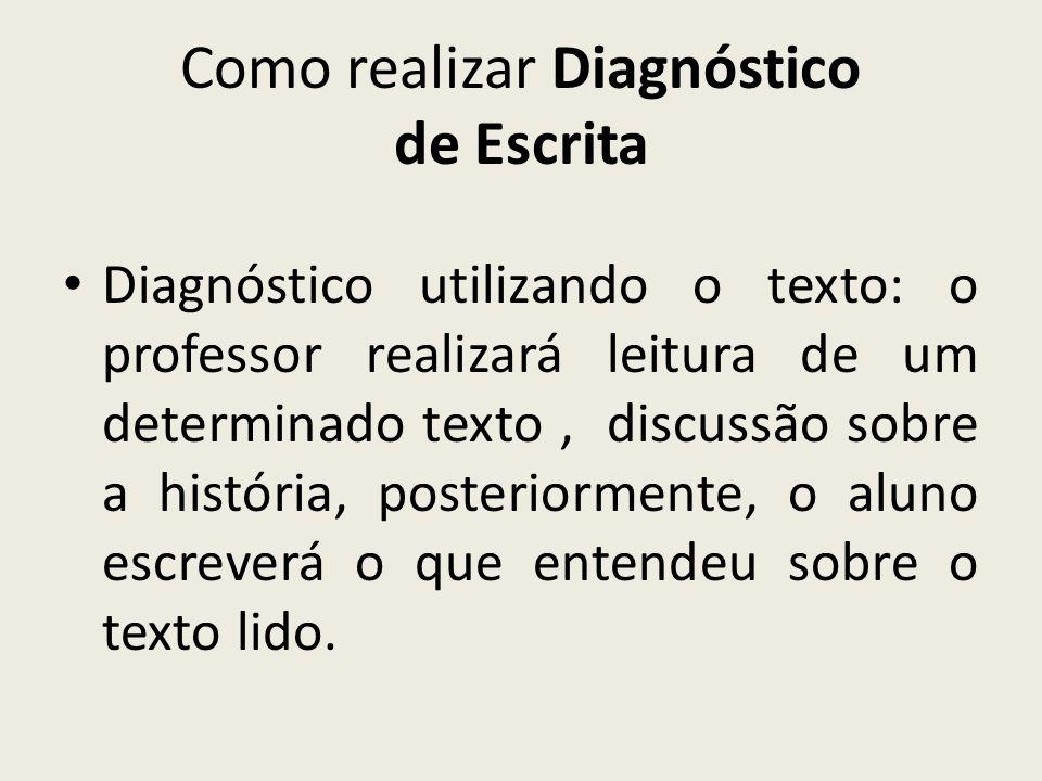Como realizar Diagnóstico de Escrita Diagnóstico utilizando o texto: o professor realizará leitura de um determinado texto, discussão sobre a história
