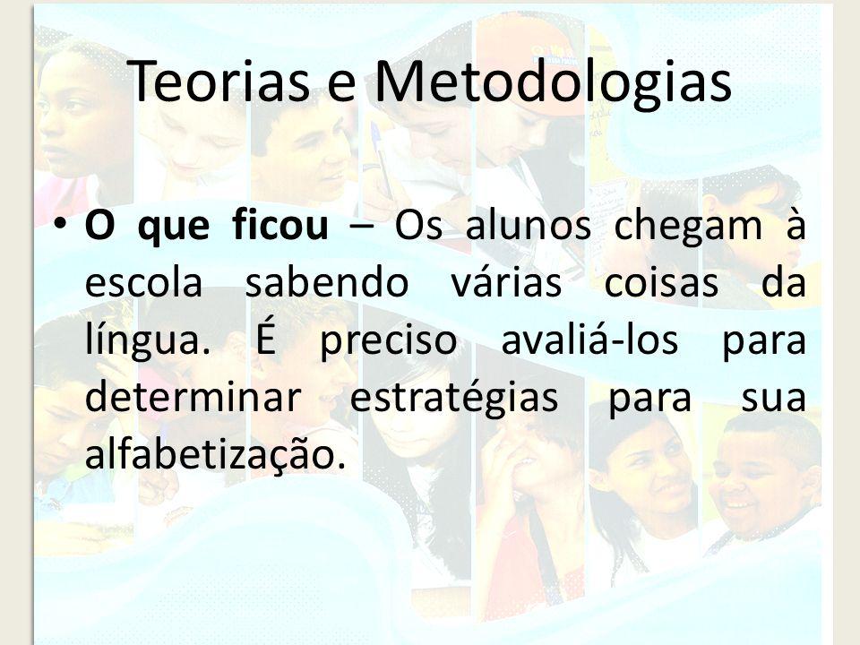 Teorias e Metodologias O que ficou – Os alunos chegam à escola sabendo várias coisas da língua. É preciso avaliá-los para determinar estratégias para